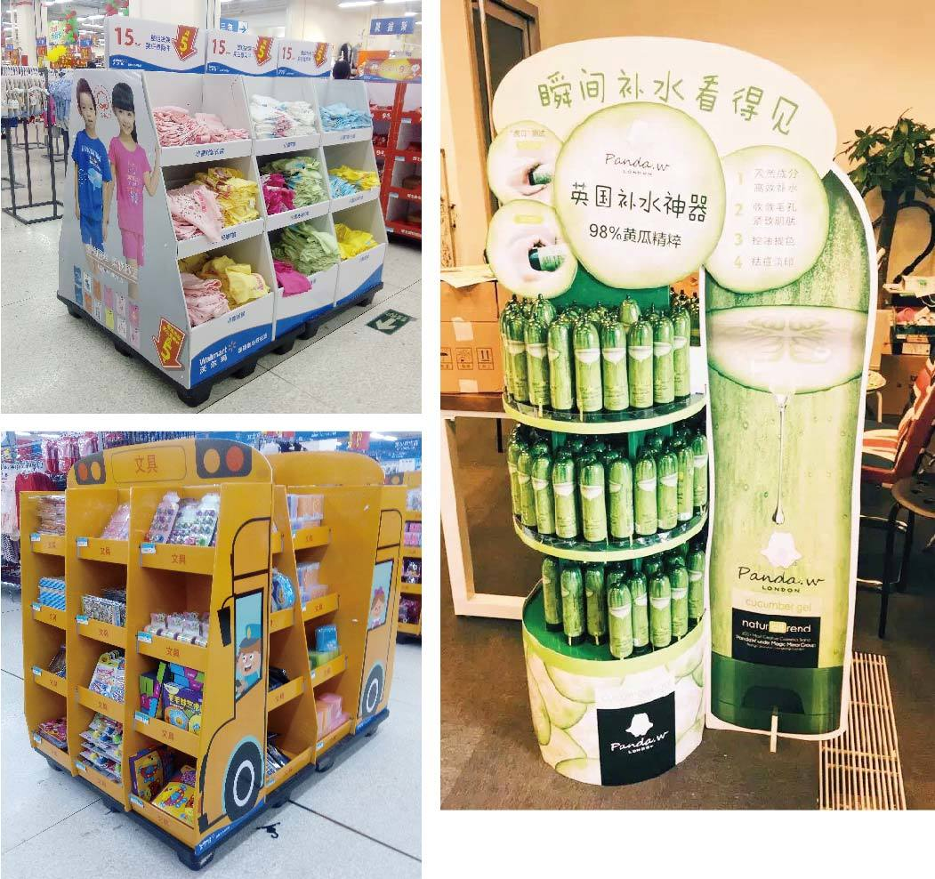 cardboard display racks retai for milk CAI YI JIE