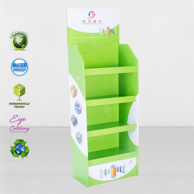 Foldable Corrugated Kraft Paper Display Stand For Toothpaste Promotion At Shopping Mall