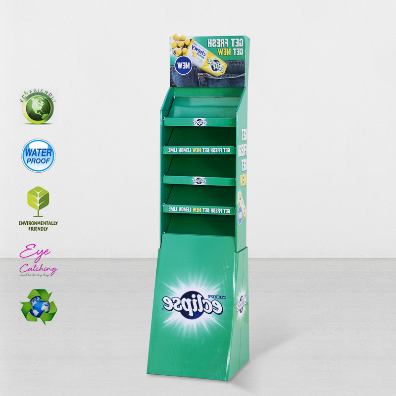 CAI YI JIE StairGlossy UV Printing  Step Corrugated Cardboard Product Stands Cardboard Floor Display image50