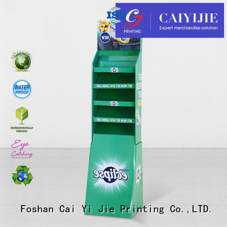 CAI YI JIE glossy cardboard product display stands uv for promotion