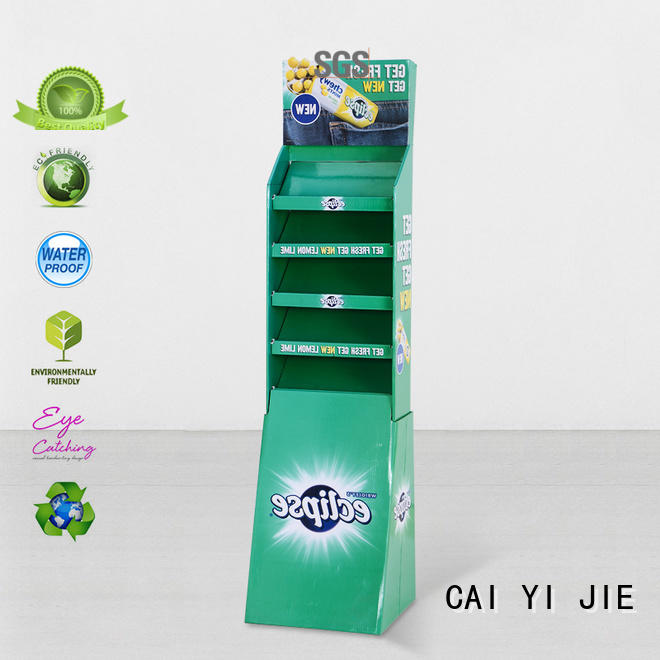StairGlossy UV Printing  Step Corrugated Cardboard Product Stands
