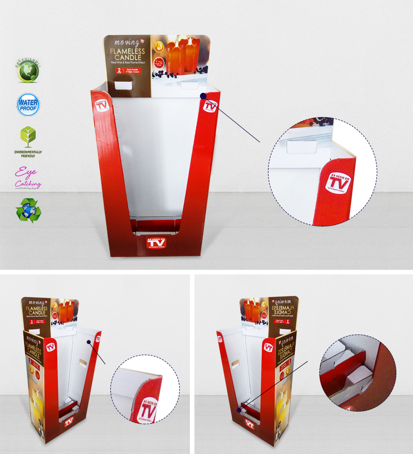 Color Printing Corrugated Display Bin With Removable Header-2