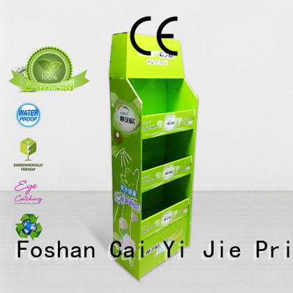 CAI YI JIE promotional cardboard display rack paper stand for stores