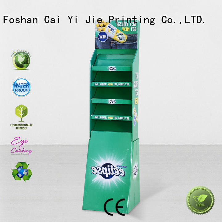 CAI YI JIE Brand uv super cardboard greeting card display stand stiand floor