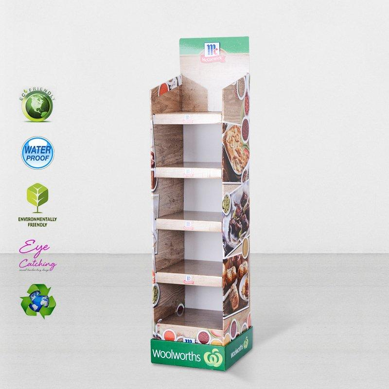 5 Layers Printed Cardboard Retail Display Stand Tower With Plastic Clip