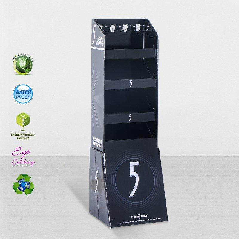 Cardboard Floor Display Stands With Peg Hooks For Marketing Sale