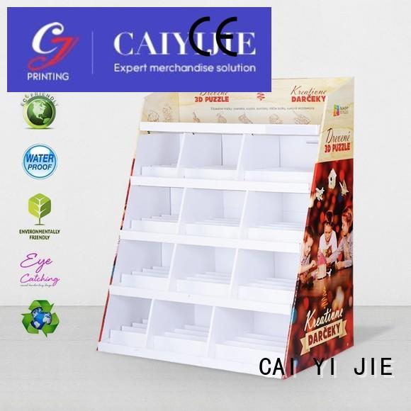 cardboard greeting card display stand promotional floor displays Warranty CAI YI JIE