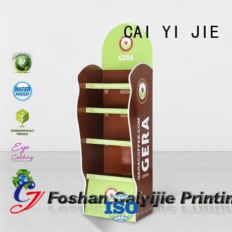 CAI YI JIE clip cardboard retail display rack for supermarket