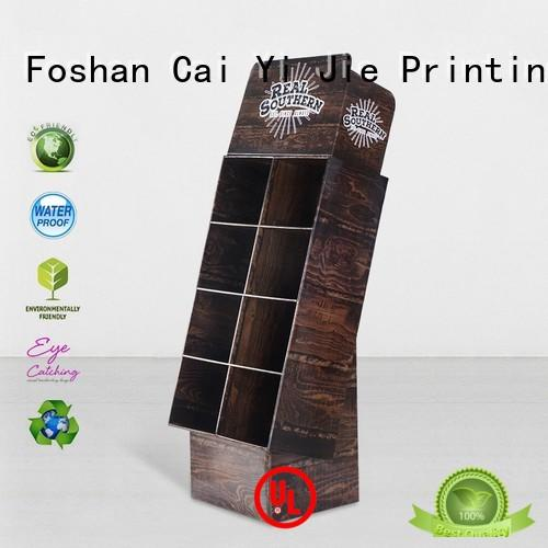 CAI YI JIE stainless tube cardboard book display retail for cosmetics