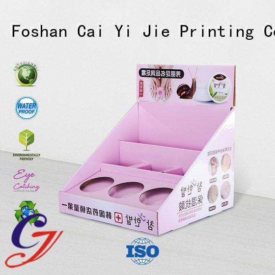 Hot custom cardboard counter displays chain printed stands CAI YI JIE Brand