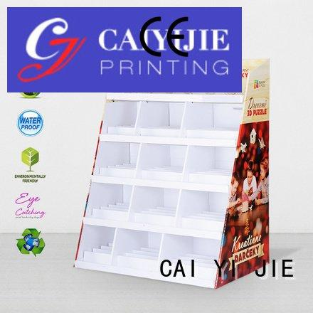 floor stairglossy cardboard greeting card display stand CAI YI JIE