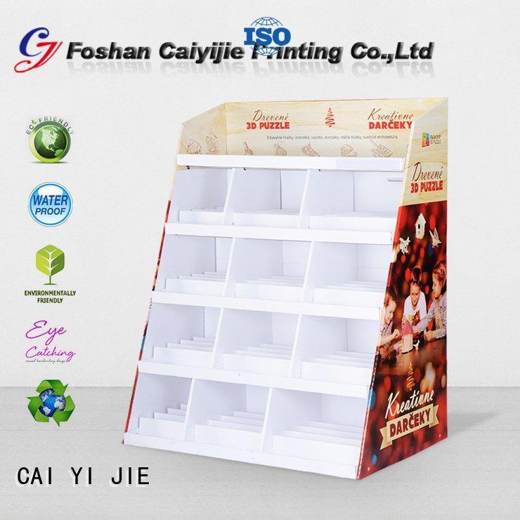 CAI YI JIE Brand step printed cardboard stand fashion uv