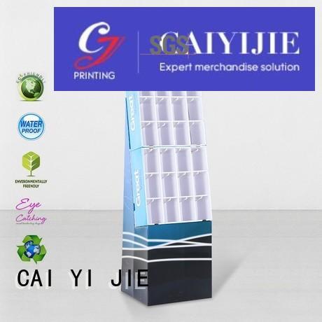 CAI YI JIE step cardboard book display racks factory for phone accessories