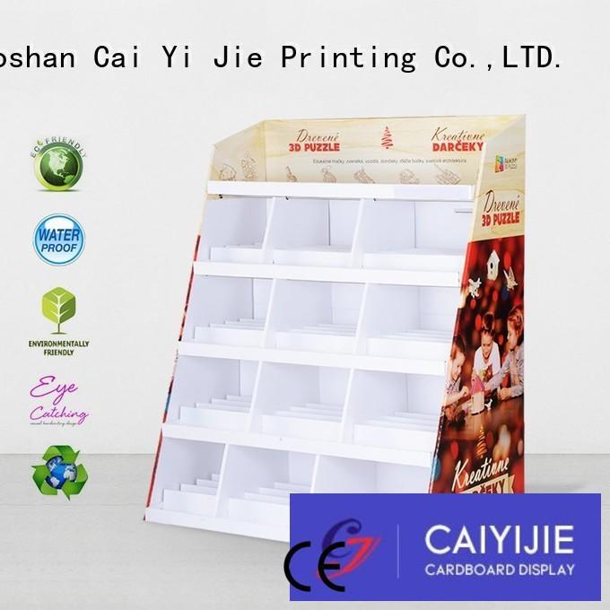 cardboard floor display retail for paper shelf CAI YI JIE