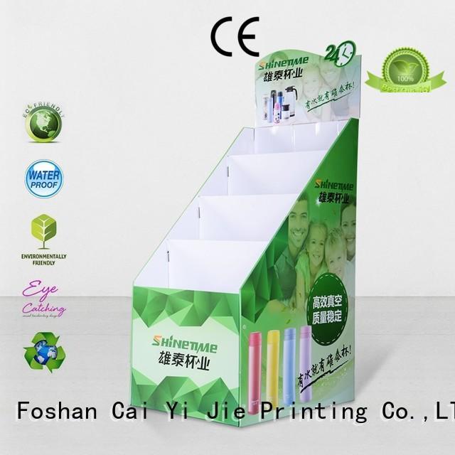 retai custom cardboard floor displays operation for beer CAI YI JIE