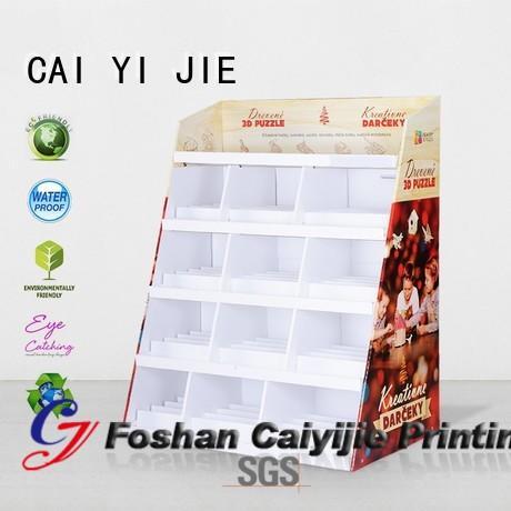 super corrugated step cardboard stand CAI YI JIE