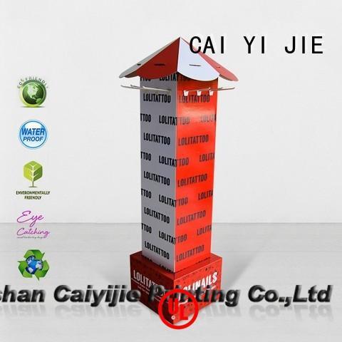 CAI YI JIE OEM hook display stand cardboard display for phone accessories
