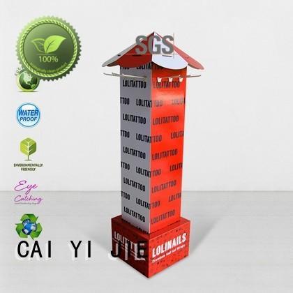 mobile cardboard free standing display units factory for perfume CAI YI JIE