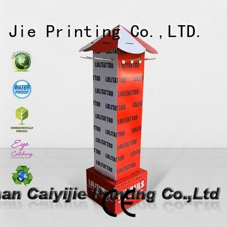 custom cardboard free standing display units hook stands for supermarket