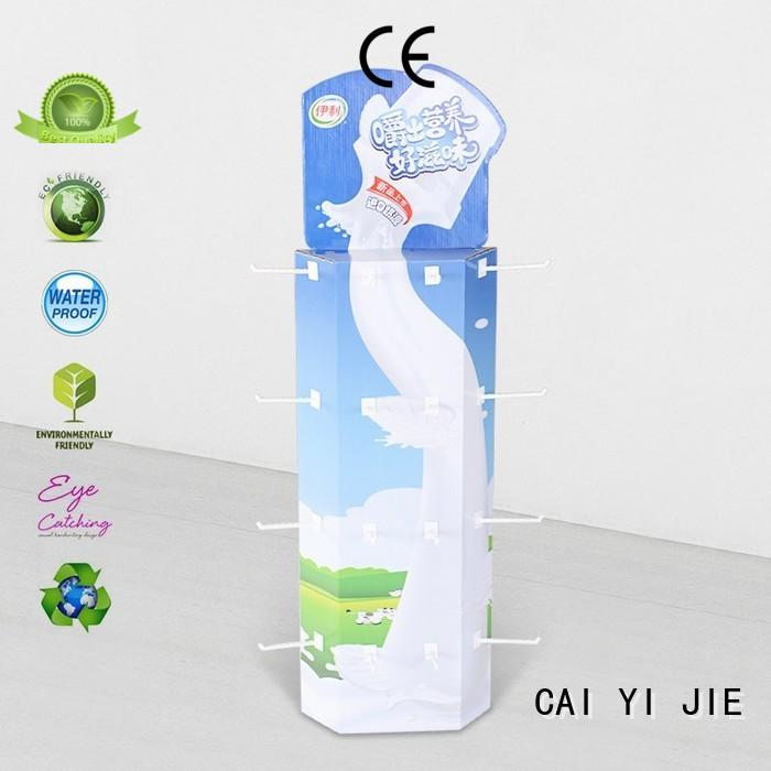 power wing floor display corrugated display for goods CAI YI JIE