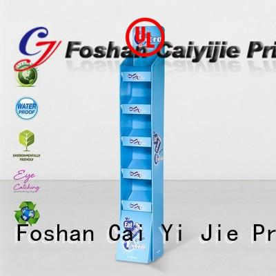 plastic floor promotional cardboard stand stairglossy CAI YI JIE