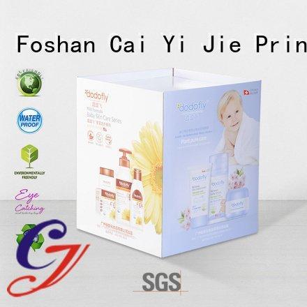 CAI YI JIE color printing header cardboard dump bins for retail easy