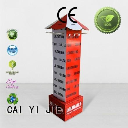 CAI YI JIE free standing display units cardboard hook stands for supermarket