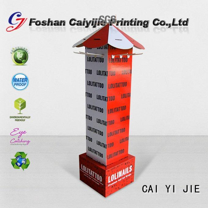 marketing cardboard counter hook display stand CAI YI JIE