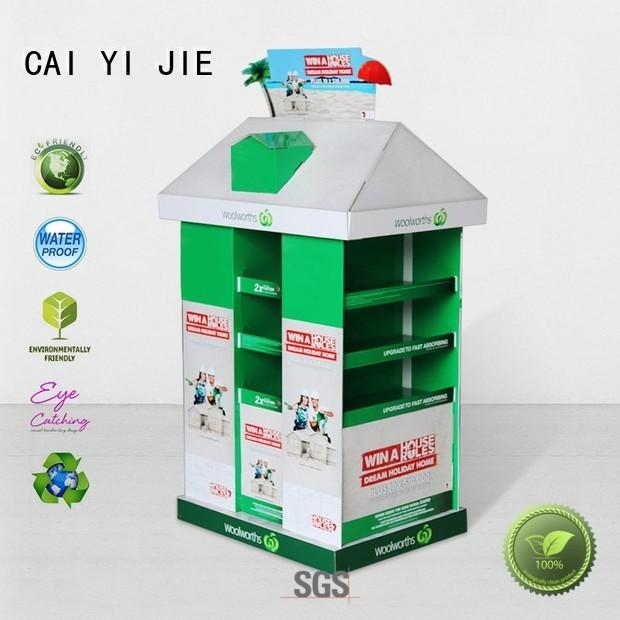 CAI YI JIE cardboard display rack pallet stands for shop