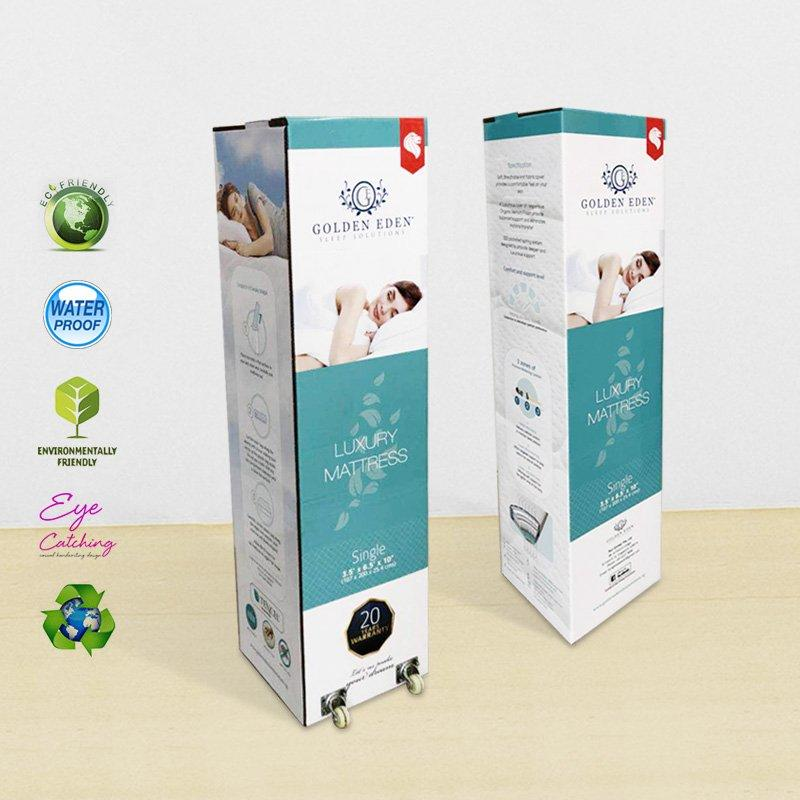 Custom Color Printed Packaging Box With Wheel And Handle For Rolled Mattress In a Box