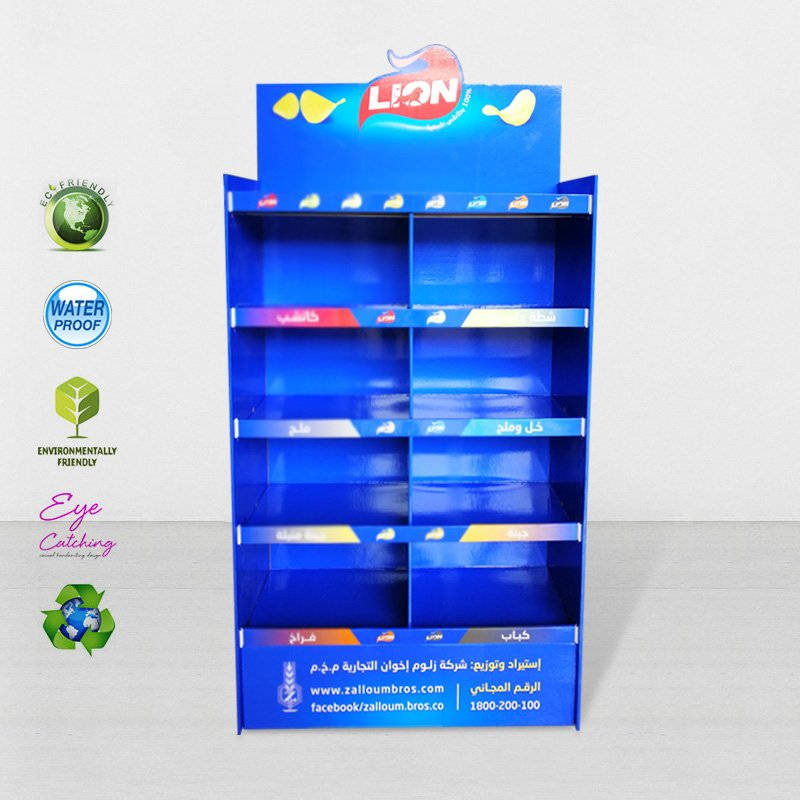 CAI YI JIE 8 Grids Floor Display Stand For Lion Chip For Chain Store Cardboard Floor Display image7
