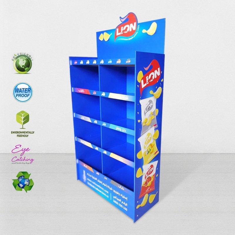 8 Grids Floor Display Stand For Lion Chip For Chain Store
