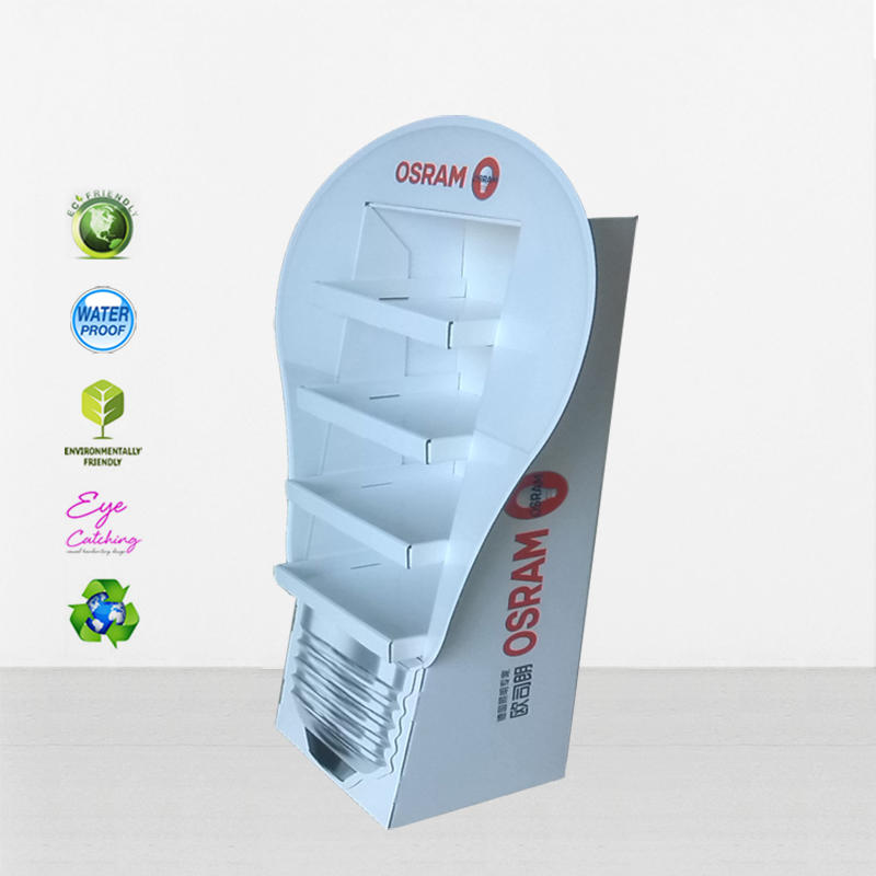 OSRAM Lamp Shape Cardboard Display Rack With 4 Tiers Electronic LED Lights Shelf For Promotion