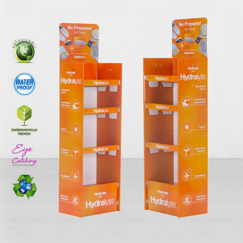 Custom POP Retail Cardboard Display Shelves For Pharmacy Promotion At Supermarket