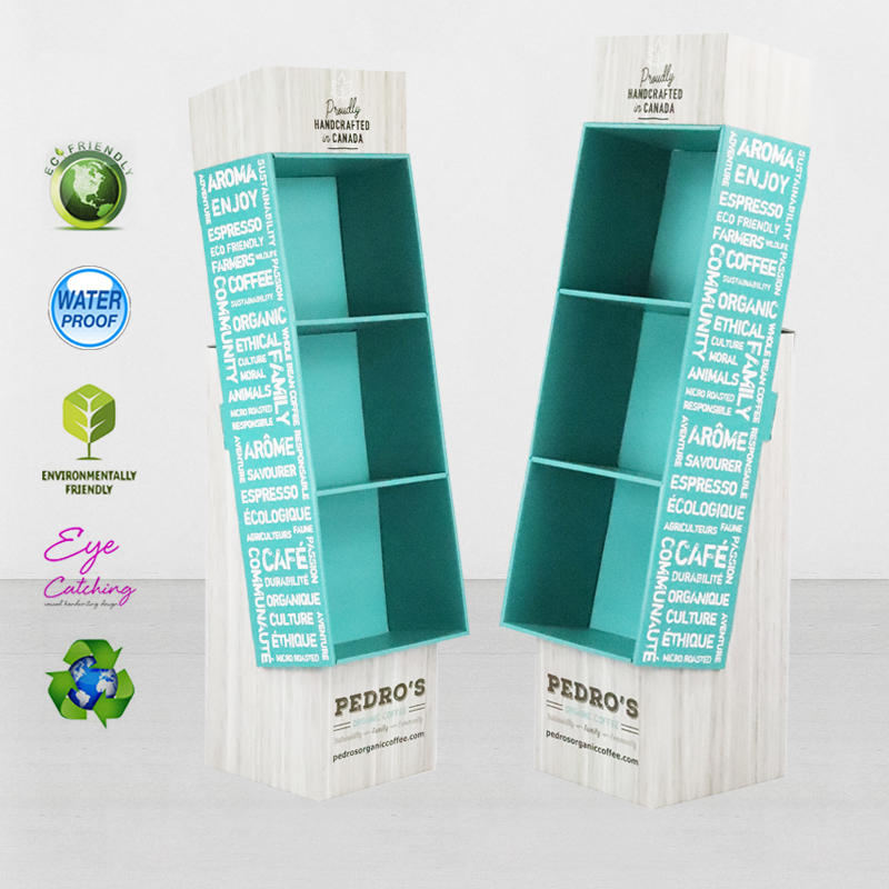 Creative Cardboard Floor Display Stand Unit For Coffee Promotion At Chain Store