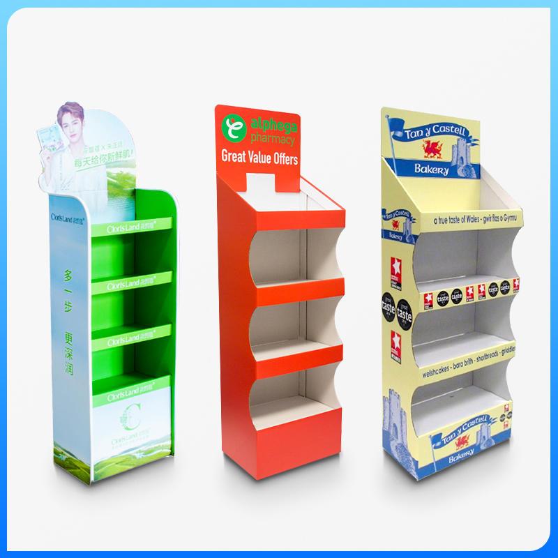 Free standing cardboard display shelf