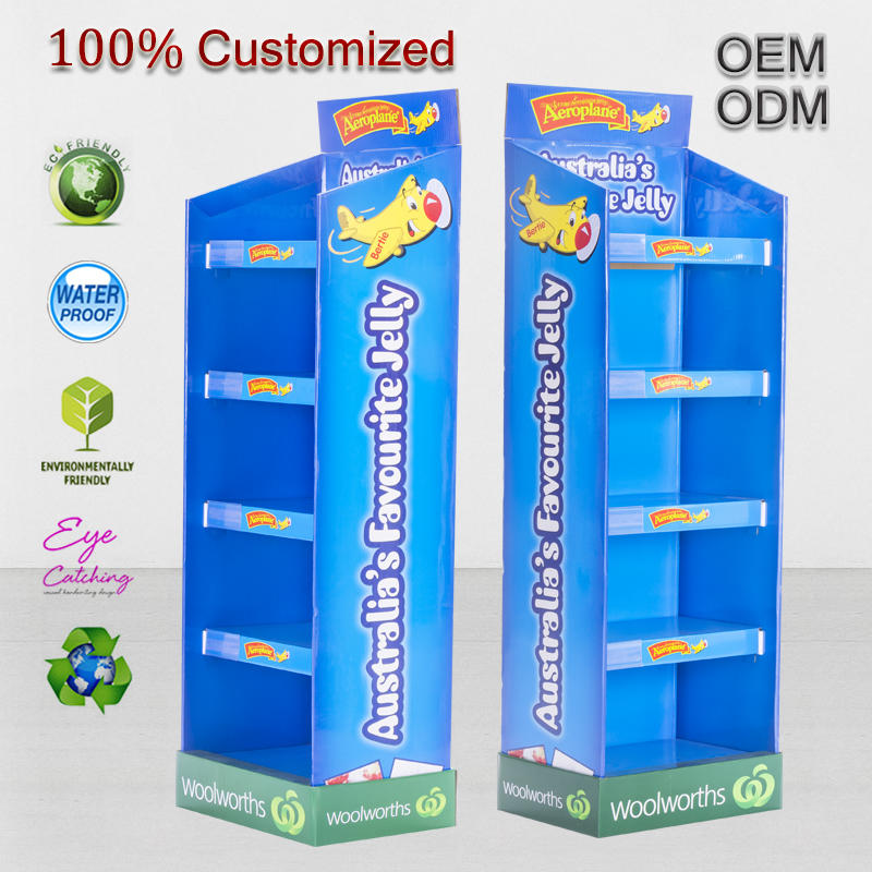 Customized 5 Tiers Cardboard Display Stand With Easy Clip Installation For Toy Car At Woolworth Supermarket