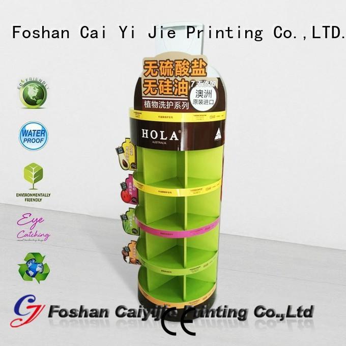 CAI YI JIE stainless tube custom cardboard display stands printing for cosmetics