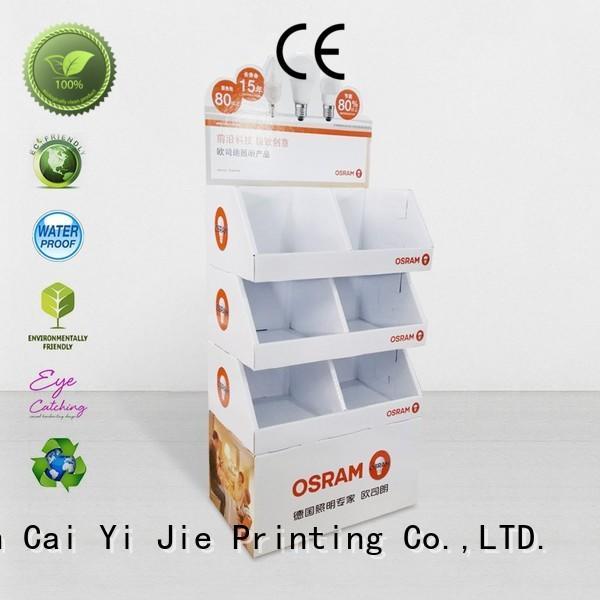 step cardboard greeting card display stand retai CAI YI JIE company