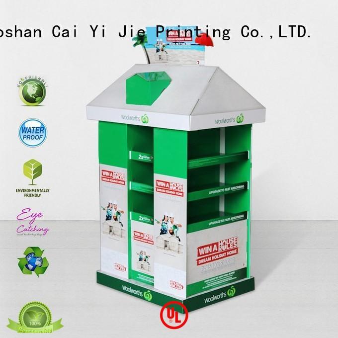 CAI YI JIE advertising cardboard display rack for shop