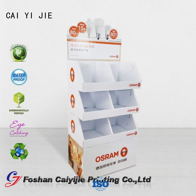 CAI YI JIE glossy cardboard floor display stands operation for led light