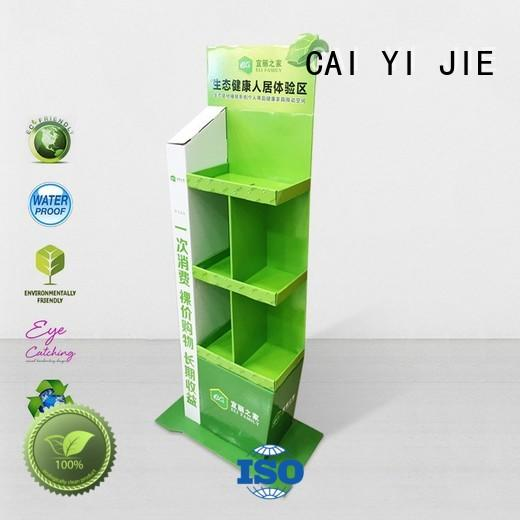 CAI YI JIE retailing cardboard book display stand pop for supermarket