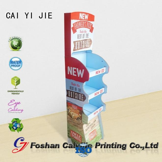 CAI YI JIE glossy cardboard product display stands color for cosmetics