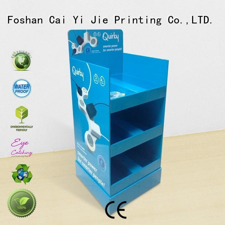 cardboard floor display stands plastic for cabinet CAI YI JIE