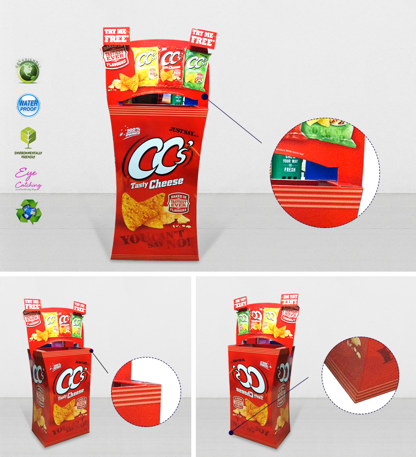 CAI YI JIE cardboard parts bins floor standing for displays cheese-2