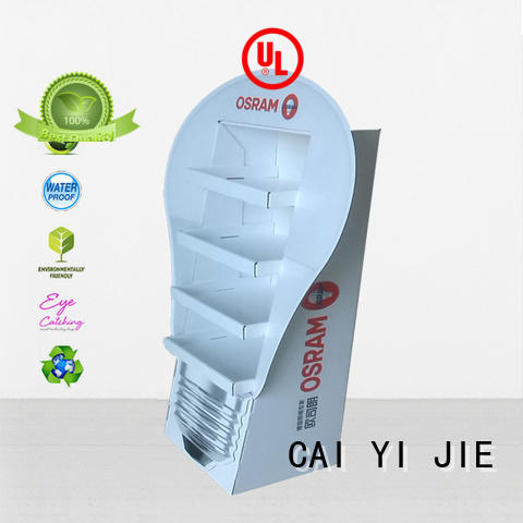large stair cardboard greeting card display stand CAI YI JIE manufacture