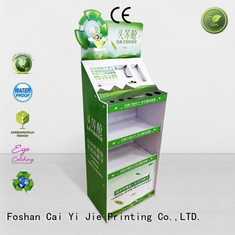 CAI YI JIE stainless tube cardboard floor display stands stair for paper shelf