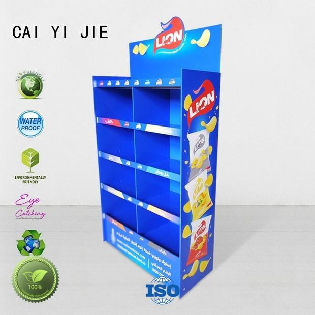 stainless tube cardboard counter display stands color for store