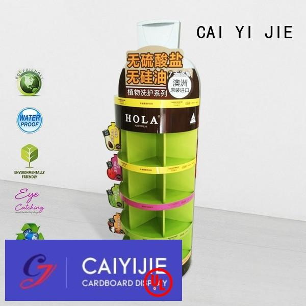 CAI YI JIE stainless tube cardboard floor display stands pop for promotion