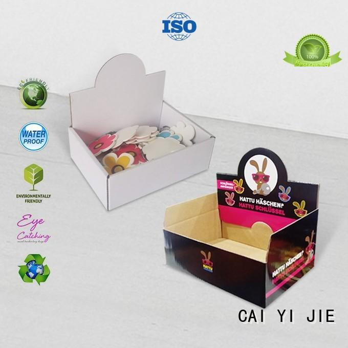 commodity cardboard counter display trays factory price for supermarkets CAI YI JIE